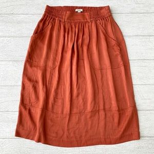 LOFT Rust Orange Midi Copper Skirt with Pockets